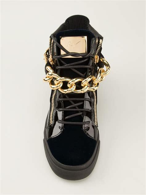 giuseppe zanotti white gold chain sneakers giuseppe zanotti gold chain hitop sneakers in black