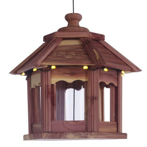 lighted cedar gazebo bird feeder the green head