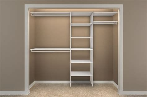 simple dressing room with closetmaid shelving units