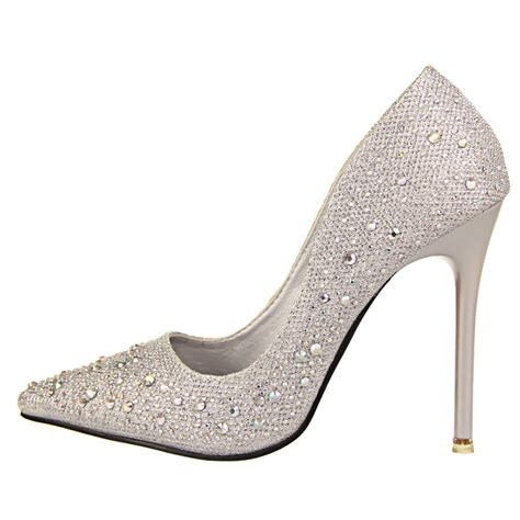 Rhinestone Platform Pumps 2016 new fashion silver rhinestone wedding