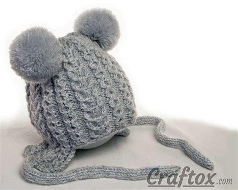 pom pom knitting patterns knitting winter hat with pom poms for kid free pattern