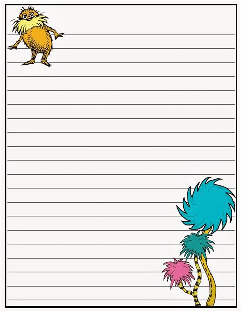 dr seuss writing paper writing paper printable for children activity shelter