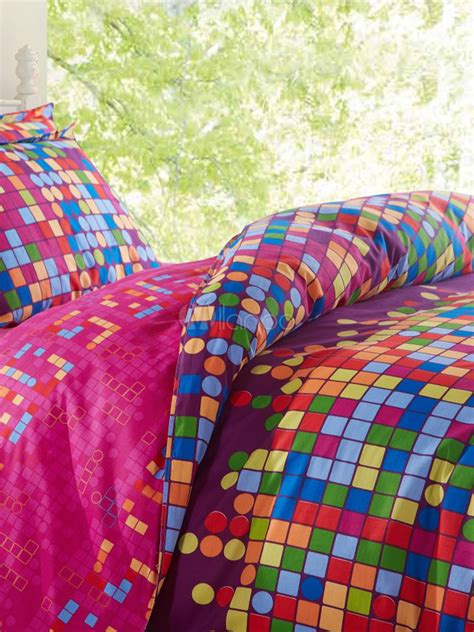 multi colored bedding chic multi color checkered 4 piece cotton bedding set