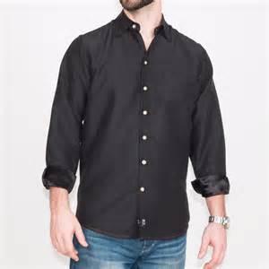 Dress Shirts Black Hemp Silk Dress Shirt White Buttons