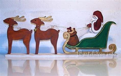 Nikolaus Basteln Holz by Basteln Mit Holz Weihnachtsmann Rentiere Und Schlitten