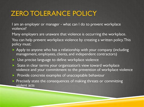 Noogler Safety First Zero Tolerance Policy In The Workplace Template