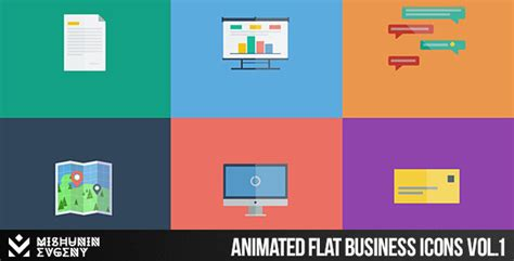 flat design after effect project after effects project files animated flat business icons