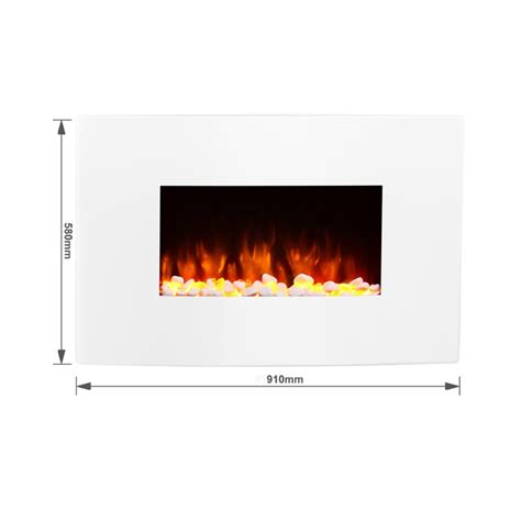 egton white wall mounted electric endeavour fires