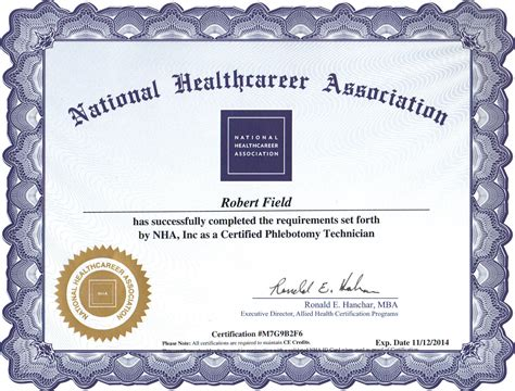 my national phlebotomy certification diploma 2012