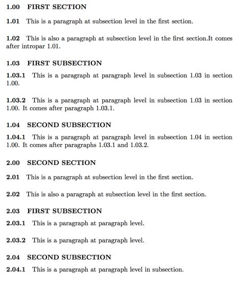 paragraph section sectioning numbering of subsections and paragraphs tex