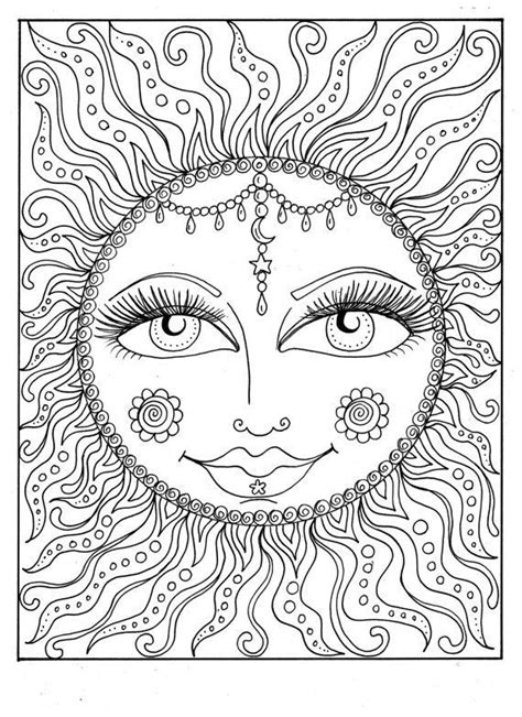 sun coloring page for adults instant download sun summer coloring page adult coloring