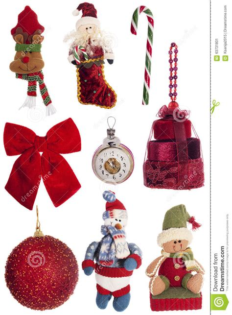festive decorations set of christmas vintage festive decorations isolated on