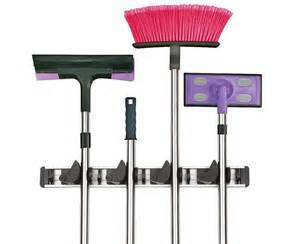 Wall mounted mop and broom holder with 4 position 5 hooks