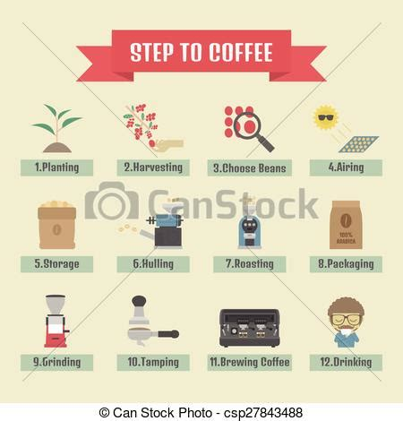 Process Of A Cup Of by Vector Of Coffee Process Step By Step From Beans To Cup