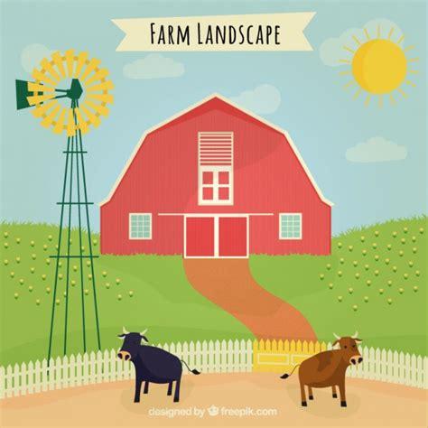 granero vector granero en un paisaje con animales de granja descargar