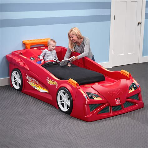 step 2 race car bed hot wheels toddler to twin race car bed red kids bed