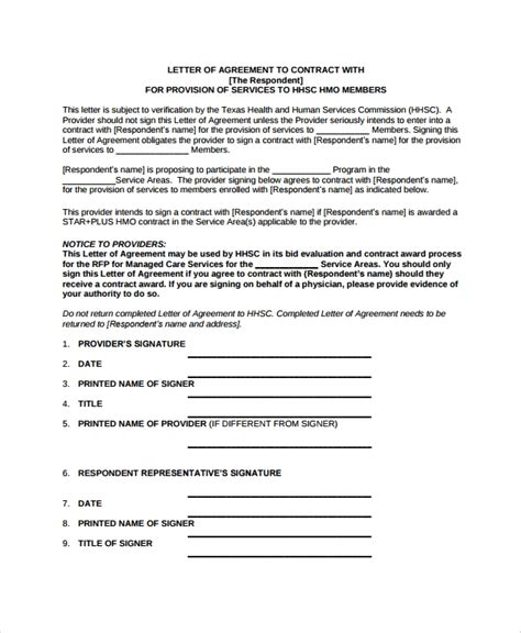 Loi Agreement Template 9 Sle Letter Of Intent Contracts Sle Templates