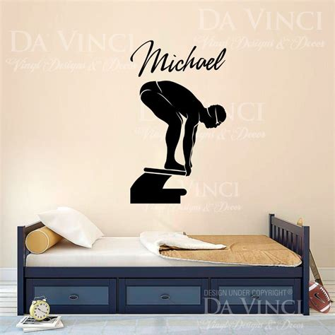 personal wall stickers swim swimmer swimming decal custom name wall personalized vinyl sticker decor in wall stickers