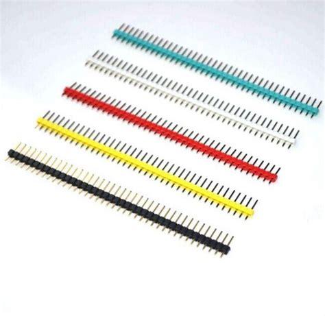Cnc Pin Header Single Row 1x40 2 54mm Black Hitam 2 54mm black white yellow blue single row