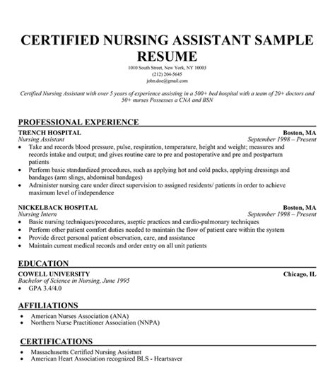 Sle Resume For Ltc Cna Resume Sles With Experience Resume Sles For Cna Retail Supervisor