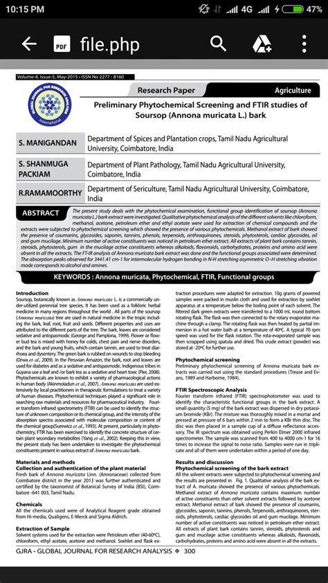 guyabano research paper preliminary phytochemical screening and ftir studies of