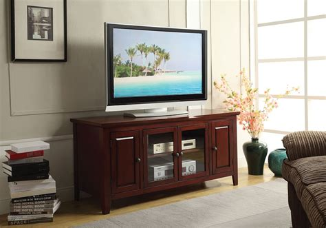 tv stand with glass door christella cherry tv stand with glass door shelves