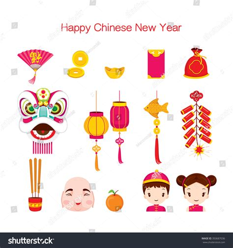 new year symbols and customs new year icons set traditional stock vector