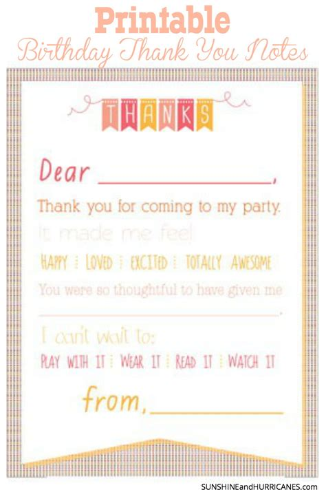 Gift Letter To Child Printable Birthday Thank You Notes