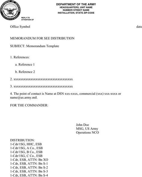 army memorandum template download free premium