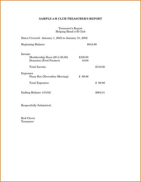non profit treasurer report template 12 sle treasurer s report for non profit lease template