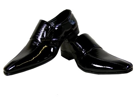 new mens black patent formal slip on work loafer wedding