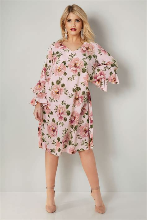 Gap Branded Flute Dress Yours Pink Floral Print Dress With Layered Flute