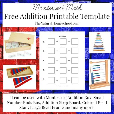 printable montessori addition strip board montessori math addition lessons using small number rods