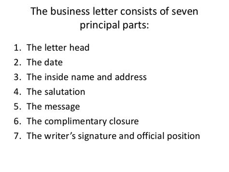 Business Letter Supplementary Parts parts of letter