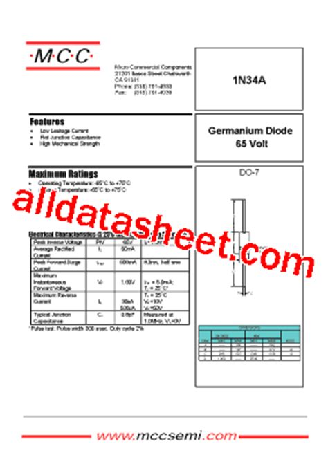 1n34 diode data 1n34 datasheet pdf micro commercial components