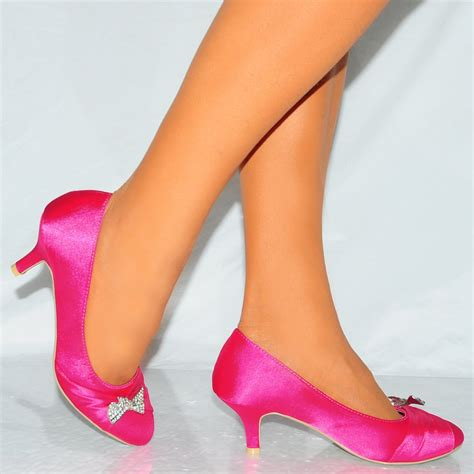 fuchsia pink satin silver diamant 233 bow slip on
