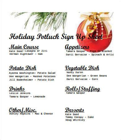 christmas potluck sign up sheet potluck signup sheet 12 free pdf word documents free premium templates