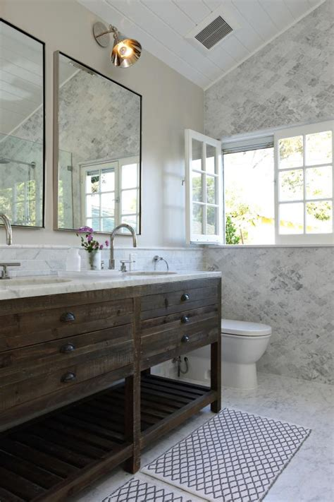 rustic vanity in marble bathroom hgtv