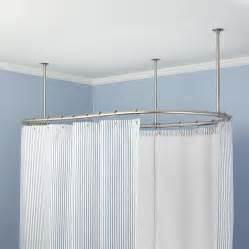 Round Shower Curtain Rail Convenience Shower Rod Ceiling Support The Decoras
