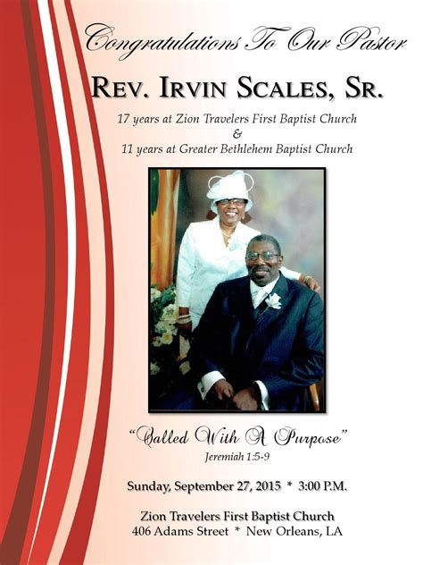 New Orleans Style Home Plans by Pastor Irvin Scales Anniversary Program By Our