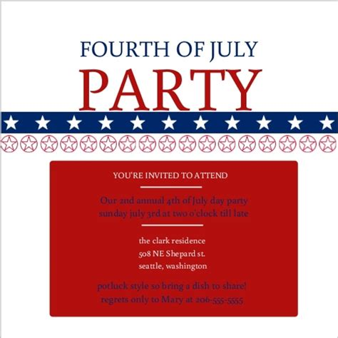 fourth of july patriotic party invite template