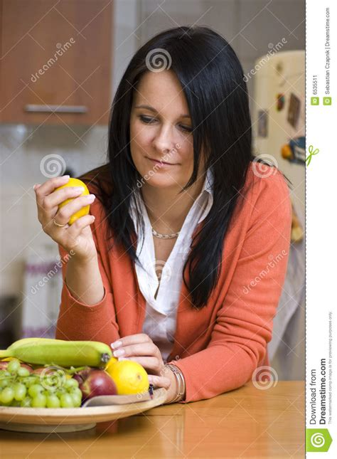 Martini Table With Bird Woman Choosing To Eat Fruit Stock Image Image 6535511