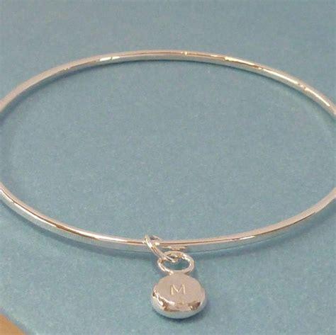 Handmade Silver Bangle - handmade silver personalised pebble charm bangle by