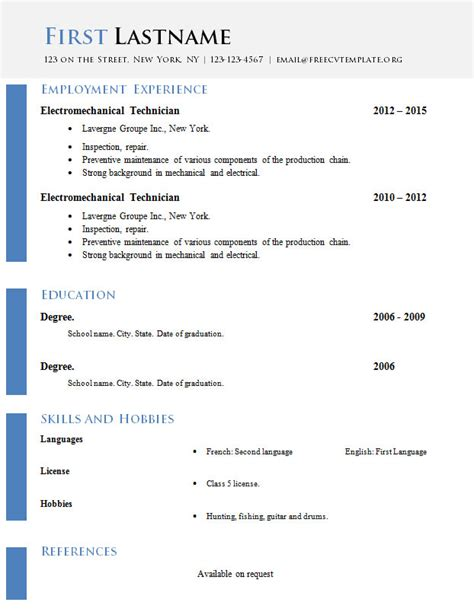 Cv Template Doc by Free Curriculum Vitae Templates Doc Format 618 624
