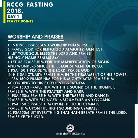 day of fasting 2018 rccg 2018 fast day 1 prayer points rccg 80 days fasting