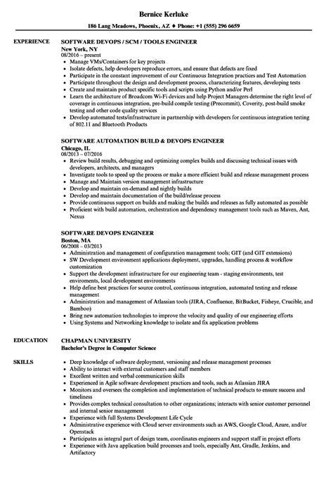 Devops Resume by Devops Engineer Software Engineer Resume Sles