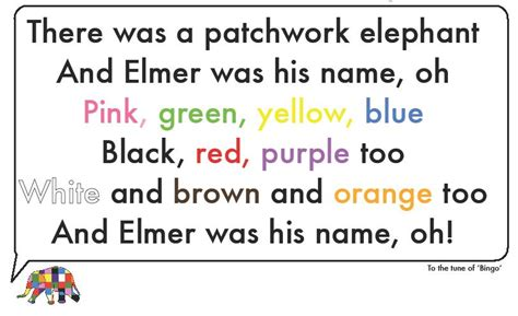elmer and the tune learning colours with elmer the patchwork elephant laia s tefl corner