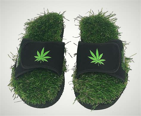 grass shoes marijuana grass slides hippy shoes made with real turf