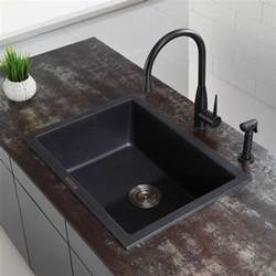 Kraus Kitchen Sink Kraus Kgd410b 24 Inch Undermount Drop In Single Bowl Granite Kitchen Sink With 8 2 3 Inch Bowl