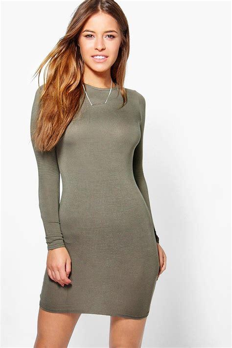 Basic Sleeve Dress boohoo womens liz basic sleeve mini bodycon